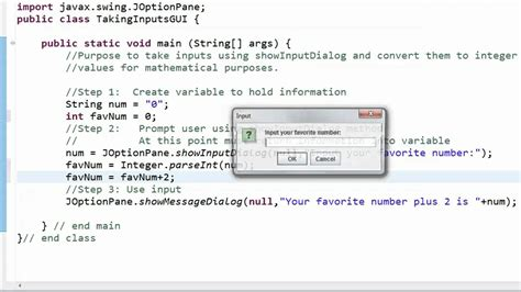 showInputDialog - Conversion String to int - YouTube